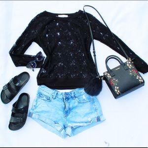 Small Anne Taylor Loft Black Lace Top
